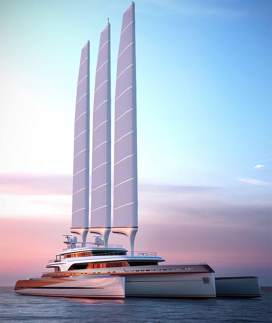 Krysningsfartyg med Solid Sail® system gjort av HexPly®