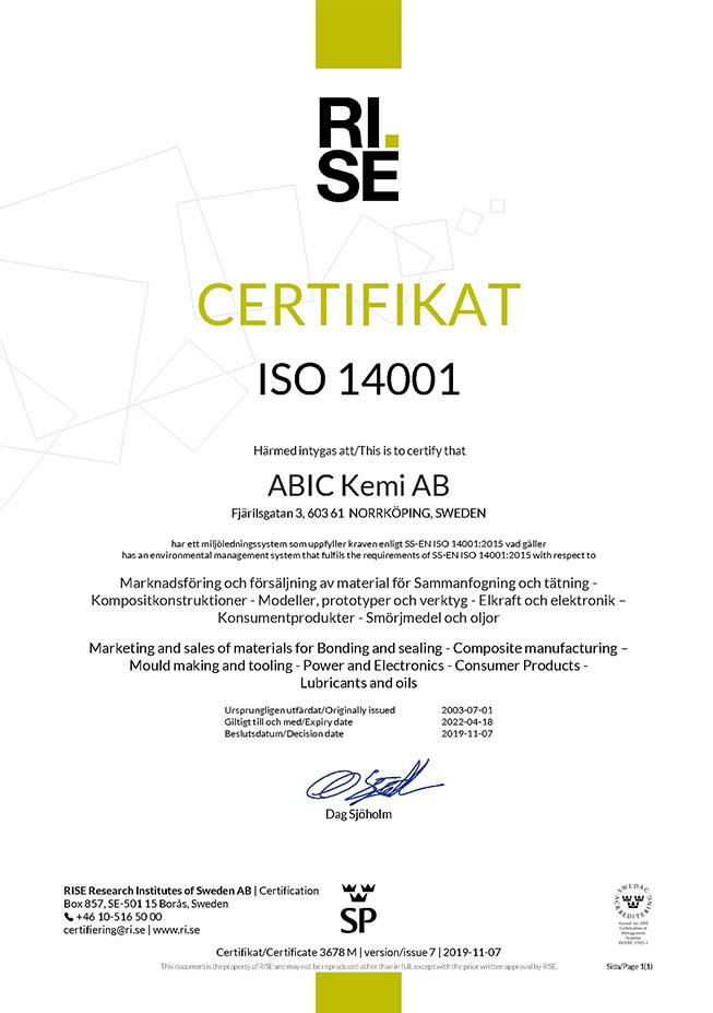 ISO 14001 - ABIC Kemi AB