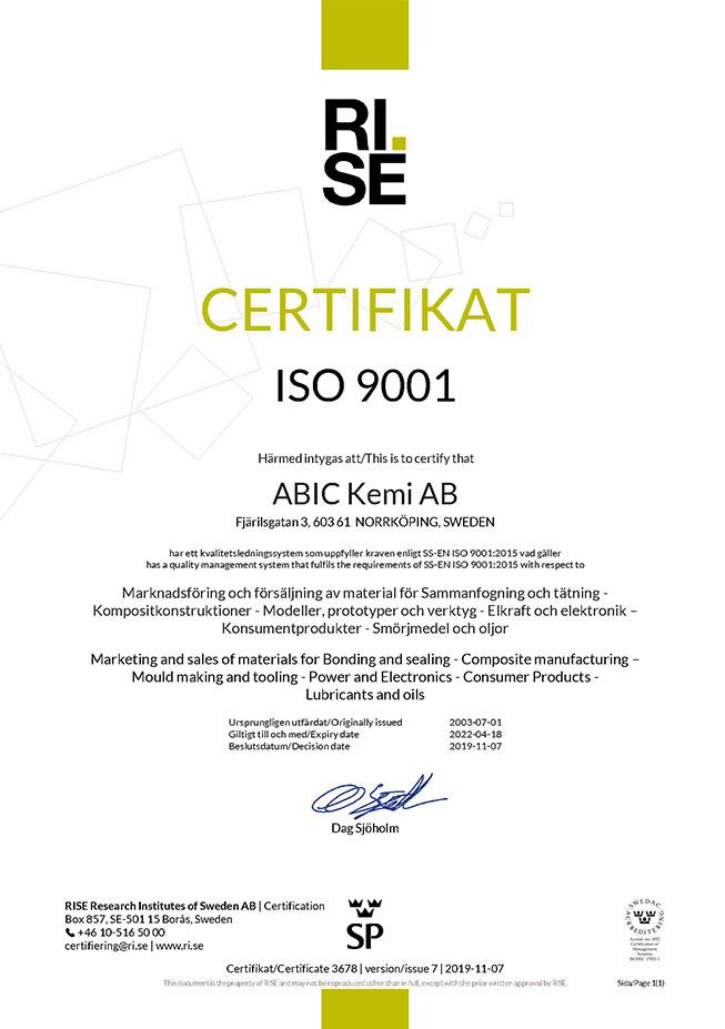 ISO 9001 - ABIC Kemi AB